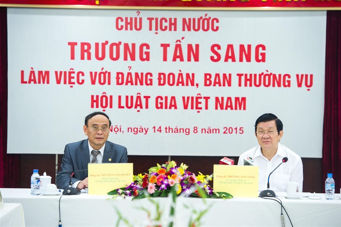 (THQH)Chủ tịch nước Trương Tấn Sang làm việc với Đảng đoàn, Ban Thường vụ Hội Luật gia Việt Nam